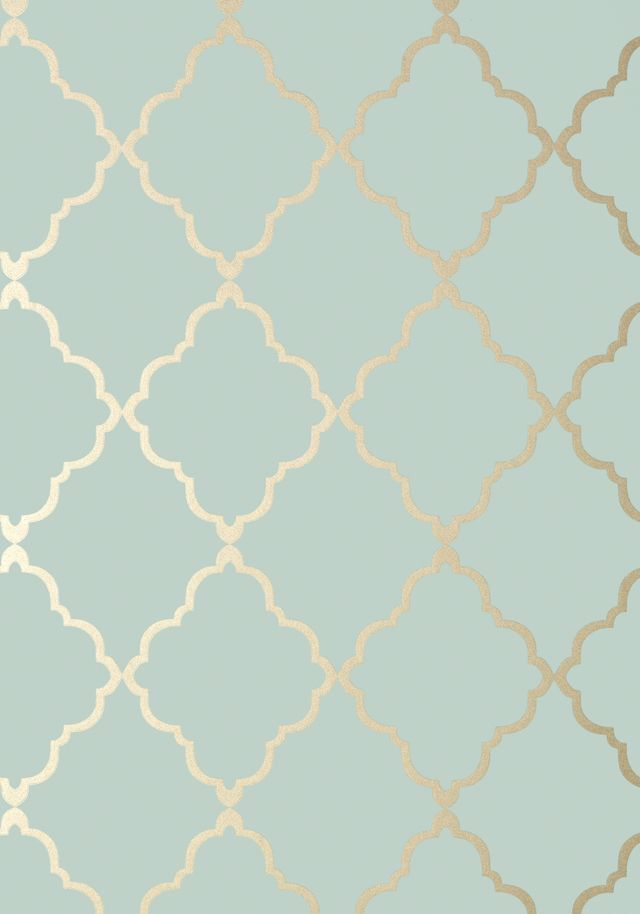 Turquoise Quatrefoil Gold WallPaper Printable