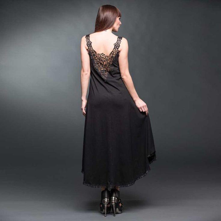 Queen of Darkness Lange high low jurk met kanten rug detail zwart - Go