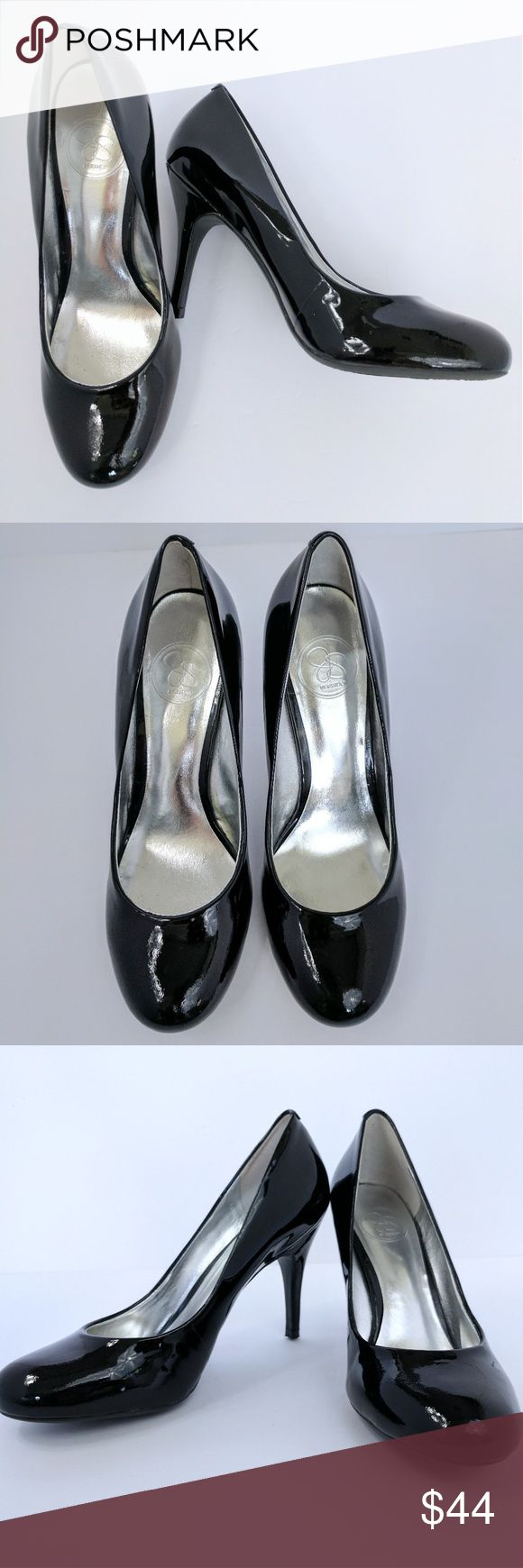 JESSICA SIMPSON   NWOT patent leather pumps Jessica Simpson black patent leather round toe heels, never worn. No scuffs or damage. Gorgeous and perfect for work. 4 inch heel. Jessica Simpson Shoes Heels