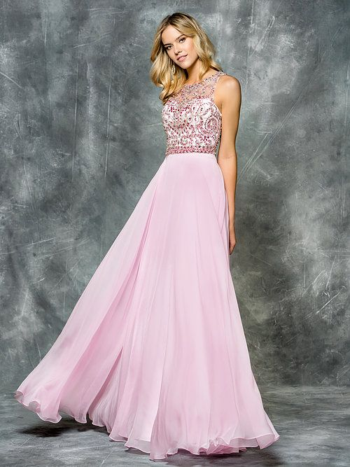 Prom dress made of chiffon with gorgeous beaded top in a light pink.