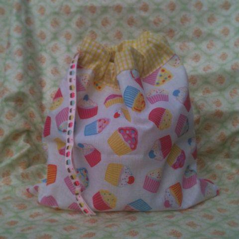 Draw string bag in cupcake fabric gift bag storage by KittyGreene, £4.00