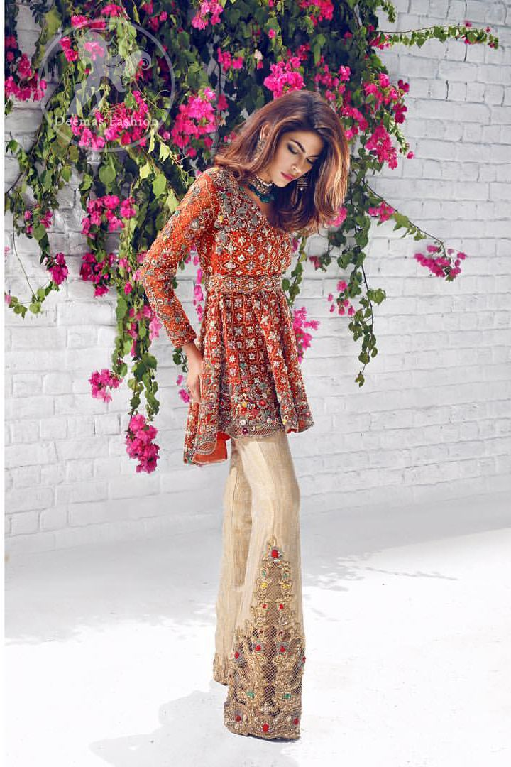Rust Short Back Trail Frock – Beige Embroidered Pants