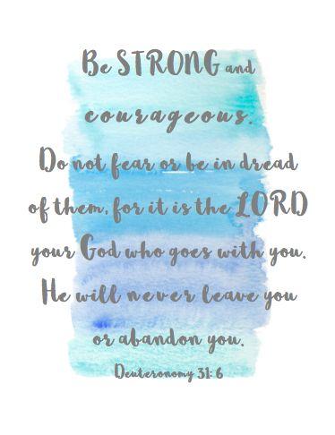 Freebie: Watercolor Quotes-Deuteronomy 31:6