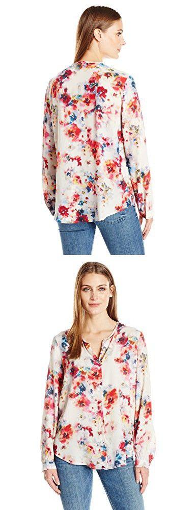 Karen Kane Women's Button-up Shirttail Blouse, Print, L
