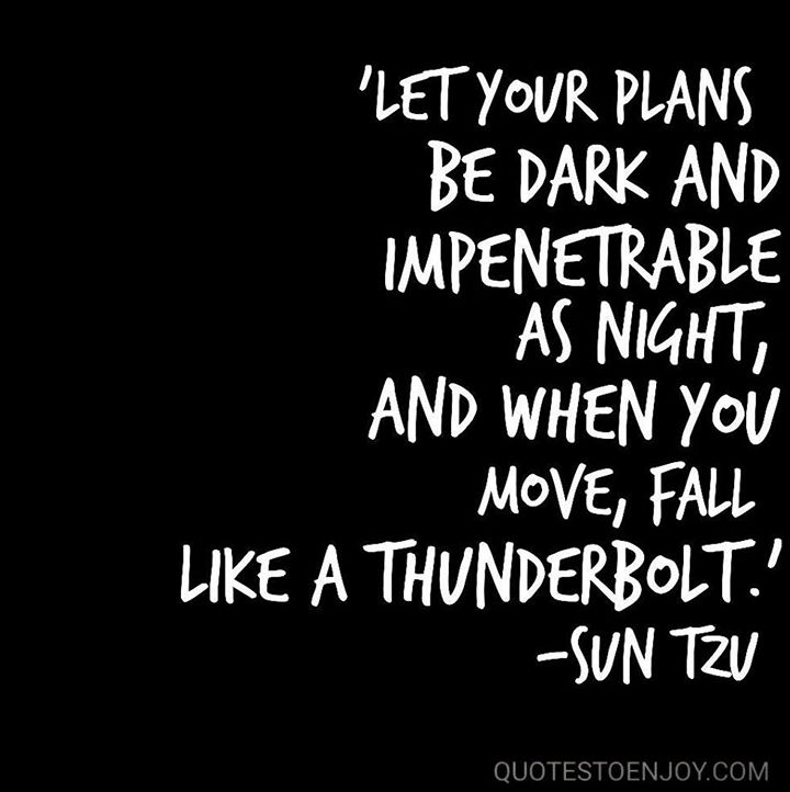 Let your plans be dark and impenetrable as night, and when you move, fall like a thunderbolt. Sun Tzu, picture quote from quotestoenjoy.com