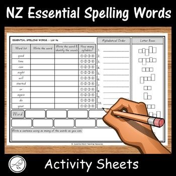Activity sheets for words from lists 1-8 of the NZ Essential Spelling Word Lists.Activities:   Write the words.         Write the words and identify the vowels (highlight, colour, circle, etc).        How many syllables?  Colour the number to show the answer.