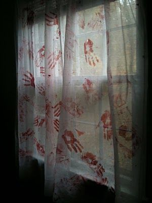 Blood-Stained Curtains..but doing it for a table cloth!