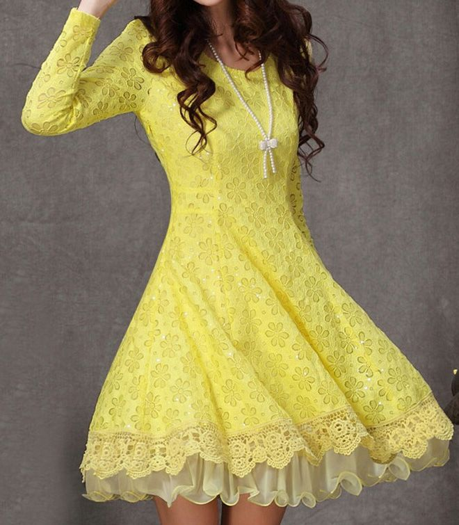 Yellow Long Sleeve Flower Lace Pleated Dress - Fashion Clothing, Latest Street Fashion At Abaday.com
