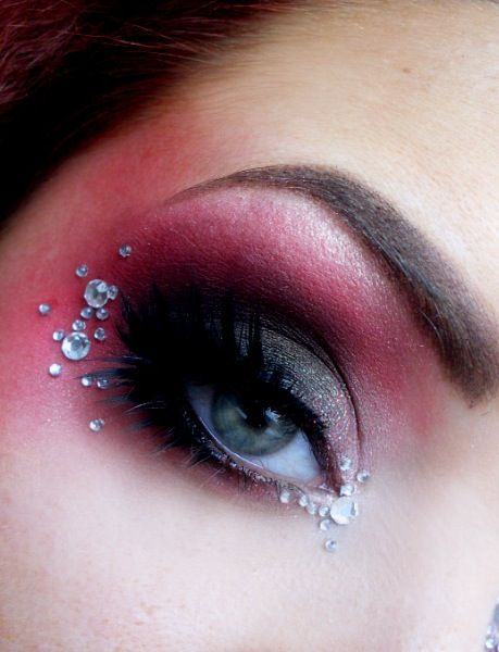 Eye make-up. Smokey red + rhinestones