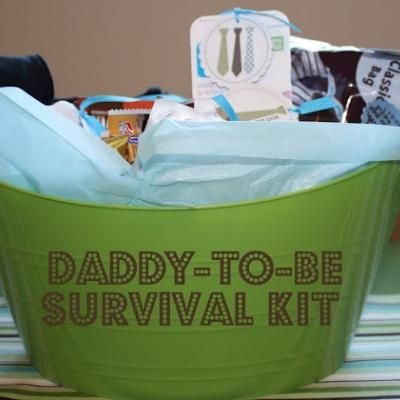 """New Daddy Survival Kit!   With a new baby on the way, mom is usually the one showered with gifts for her and the new baby and dad is often forgotten.  Here is a cute little tote filled with goodies to help a new dad-to-be.  It includes peepee teepees """"until he gets quick at the diaper change"""", granola bars for """"when mom doesn't have time to make you breakfast anymore"""", and lots of other cute treats."""