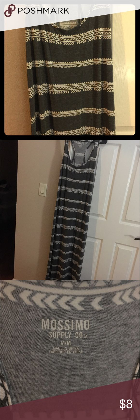 Maxi dress from target size M grey Never worn, long maxi dress with white pattern. From target size M Mossimo Supply Co Dresses Maxi