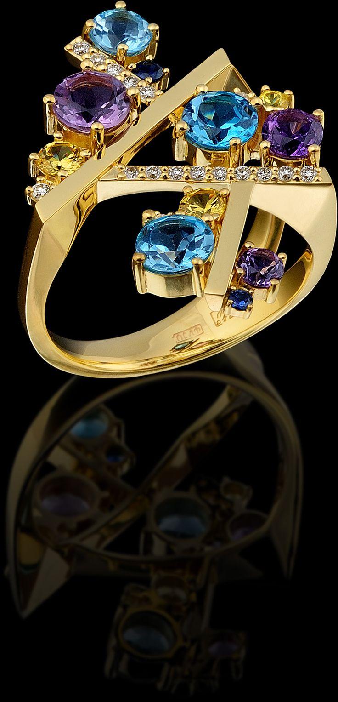 """Anel """"Quebra-cabeças"""" 10759 Coleção: Caleidoscópio  750 ouro amarelo, diamantes, safiras azuis, topázio, ametista, safiras amarelas."""