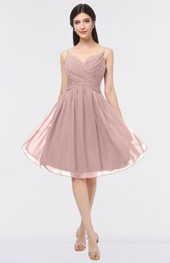 f0514e0f8e0a6 ColsBM Alisha Blush Pink Sexy A-line Sleeveless Zip up Knee Length Ruching Bridesmaid  Dresses