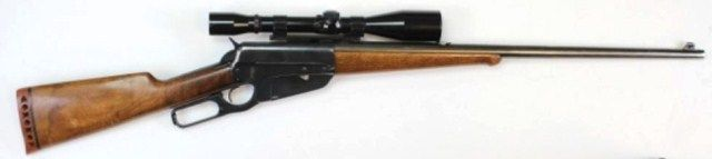 """Winchester 1895 30-06 cal. SN 419310  lever action rifle 24"""" round barrel and walnut stocks. Rifle drilled and fitted for Bushnell scope, receiver refinished with replaced butt stock, action very good with good bore."""
