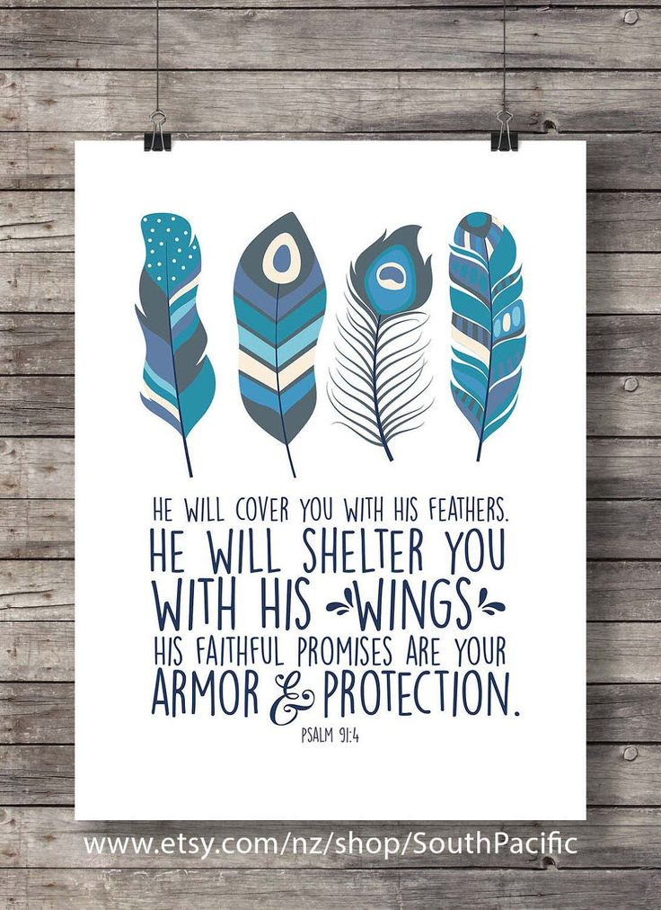 He will cover you with His feathers | Bible verse print | Psalm 91:4 scripture print, wall art | Christian decor | scripture printable art