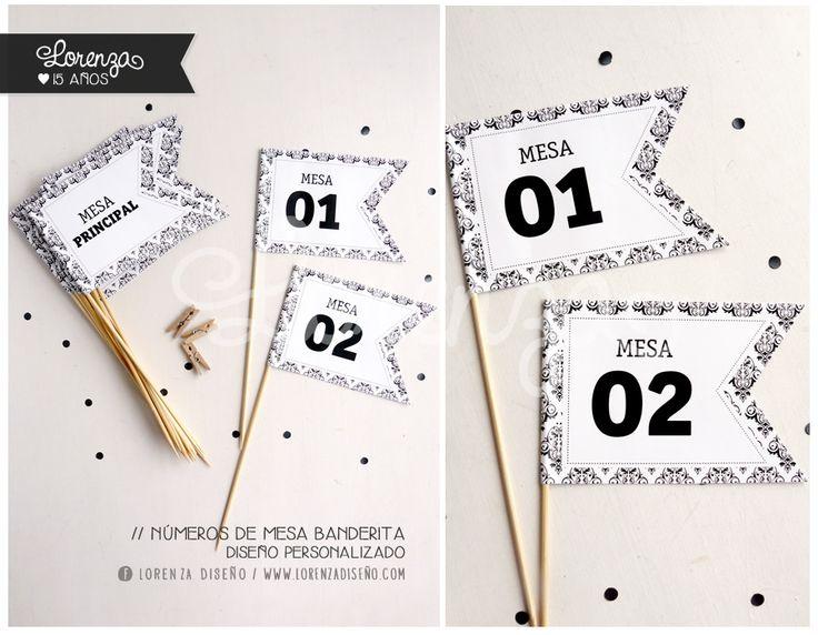 Números de mesa BANDERITA / 15 Y BODAS. Diseño personalizado! LORENZADISEÑO.COM / infolorenza@gmail.com C.a.b.a. Argentina - Envíos a todo el país. #invitacionesde15 #sobrescalados