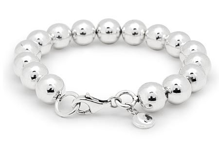 Silver Bracelet, rounded bead