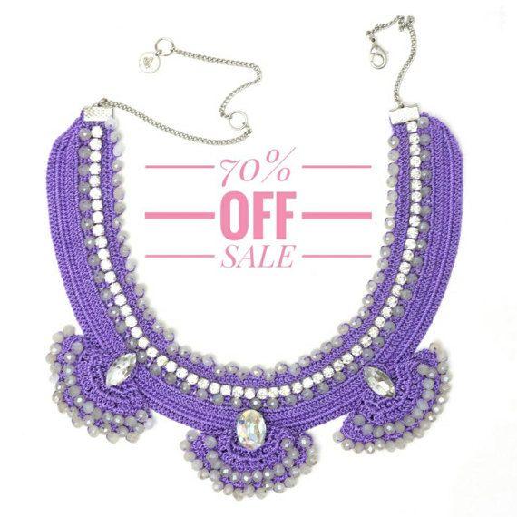 70% OFF Necklace Handmade Purple Crochet Beaded Swarovski