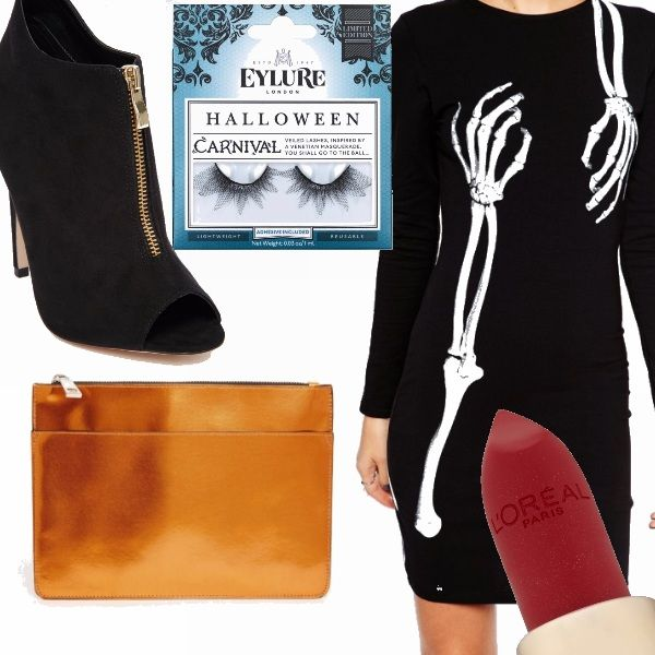 Ragazze manca poco è ora di pensare al look per la notte più spaventosa dell'anno! Pronte?? Dress veramente a tema, super sexy stivaletto spuntato, pochette arancione zucca, ciglia finte meravigliose e rossetto rosso profondo.
