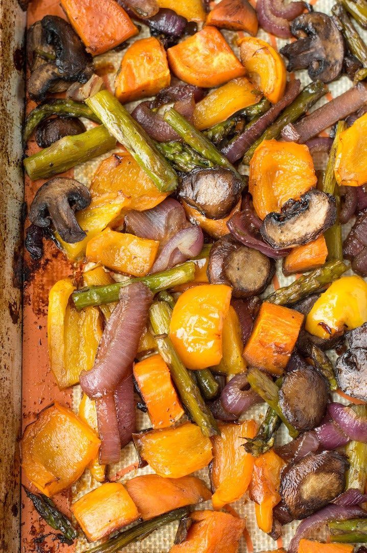 Balsamic Honey Roasted Vegetables | nourishedtheblog.com | A simple, delicious and gluten free way to eat your veggies! This Balsamic Honey Roasted Vegetables recipe uses asparagus, sweet potatoes, onions, mushrooms, sweet bell peppers, balsamic vinegar and a little bit of honey. This is the perfect side dish for any dinner. Click for the recipe!
