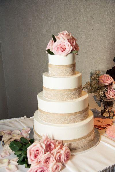 Burlap + Lace #WeddingCake I Golightly Images I See more @WeddingWire http://www.weddingwire.com/biz/golightly-images-wylie/portfolio/863fca76421db946.html?page=3&subtab=album&albumId=0954d5dc88f43570#vendor-storefront-content