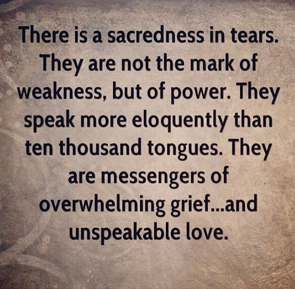 There is a sacredness in tears...