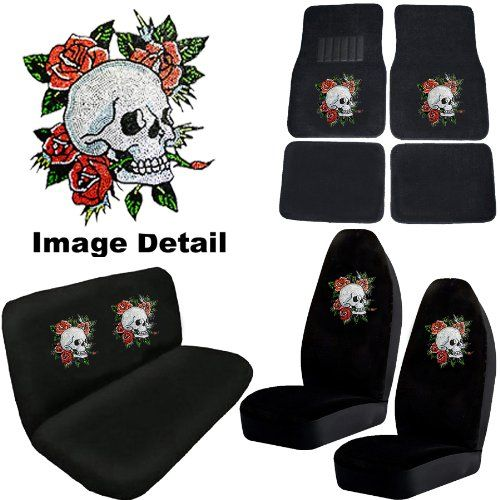 White Crystal Happy Skull w/ Red Roses Gem Crystals Studded Rhinestone Car Truck Seat Covers Mats Bench 8 Piece Combo Kit LA Auto (kinda like this for the car...)