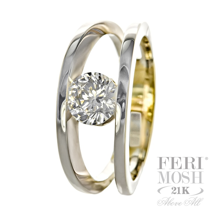 FERI MOSH Orbit Ring - 21K White & Yellow gold with diamond center stone. $24,719.00 #ring #jewelry