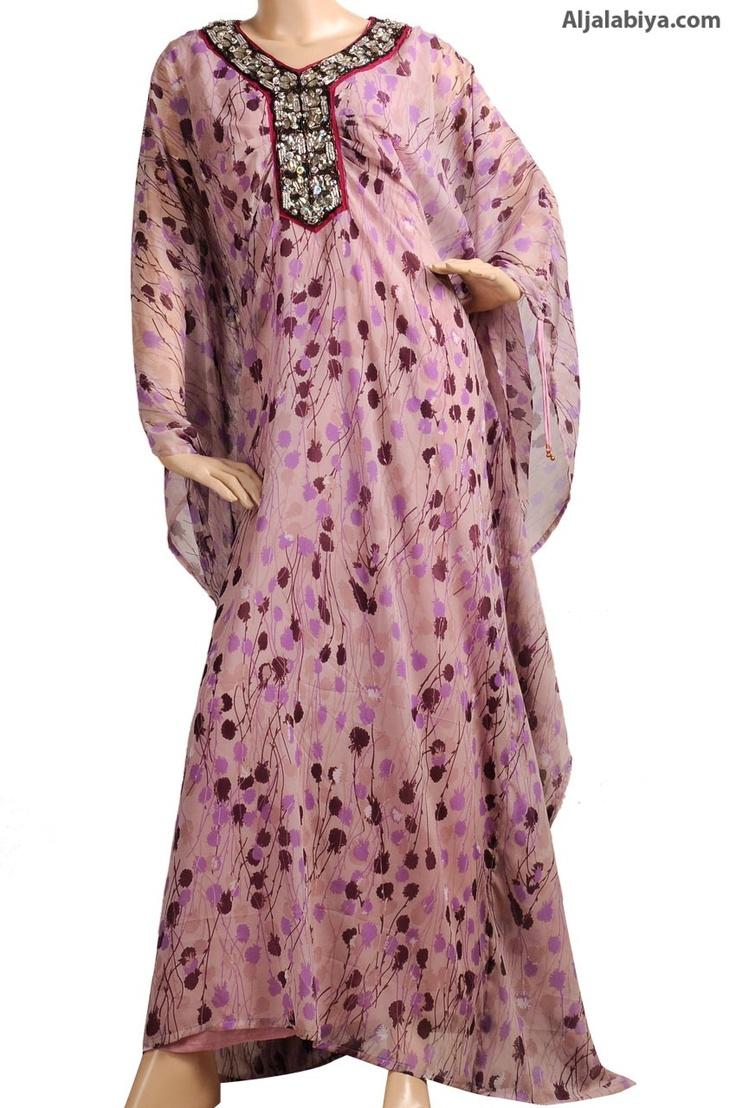 "aljalabiya.com: ""Poppy Seed Dandy"" Chiffon butterfly kaftan with embroidery (N-13000-21) $138.00"