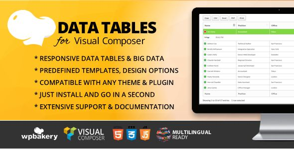 Data Tables Addon for WPBakery Page Builder (formerly Visual