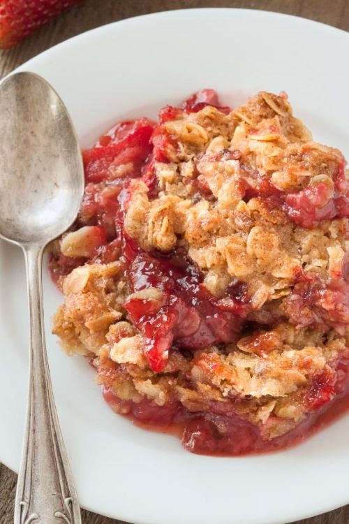 This quick and easy gluten-free strawberry rhubarb crumble is generously topped with a simple oat-based streusel and is the perfect spring dessert!