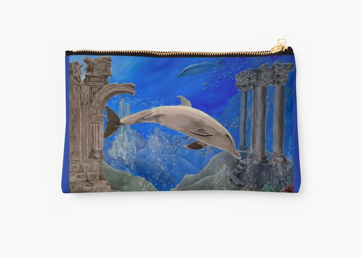 Studio Pouch,  cool,beautiful,fancy,unique,trendy,artistic,awesome,fahionable,unusual,accessories,for sale,design,items,products,gifts,presents,ideas,carry all pouch,aqua,blue,dolphin,redbubble