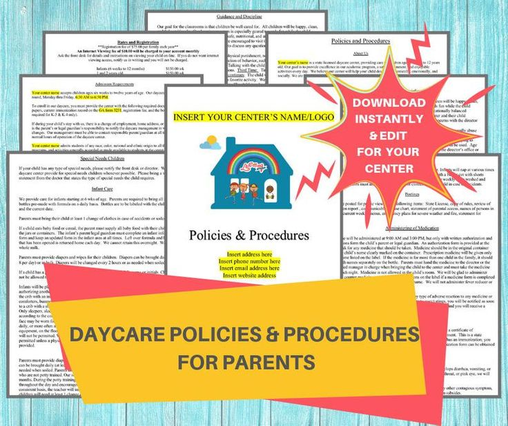 Daycare policies procedures childcare center printable