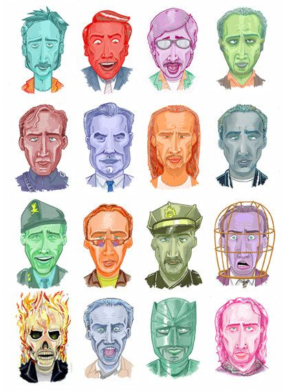 The many wonderful faces of Nicolas Cage, now yours to own as a lovely A3 Print.  Get your guests to try and name the movies or just reel them off like the Nic Cage aficionado you secretly are.  1. Raising Arizona 2. Vampires Kiss 3. Deadfall 4. Leaving Las Vegas 5. The Rock 6. Face Off 7. Con Air 8. Gone in 60 Seconds 9. Captain Corellis Mandolin 10. National Treasure 11. World Trade Center 12. Wicker Man 13. Ghost Rider 14. Bad Lieutenant 15. Kick Ass 16. Season of the Witch  Frame not…