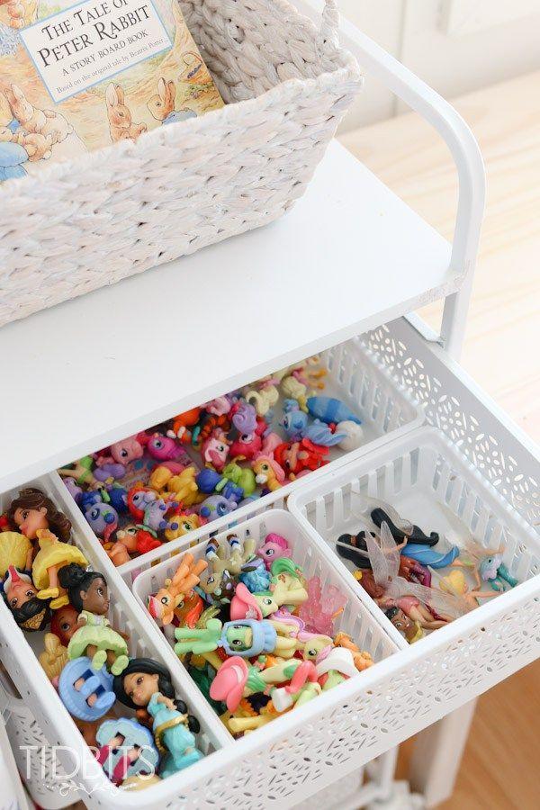 Organizing my girls toys in our World Market rolling cart.  #worldmarkettribe #ad