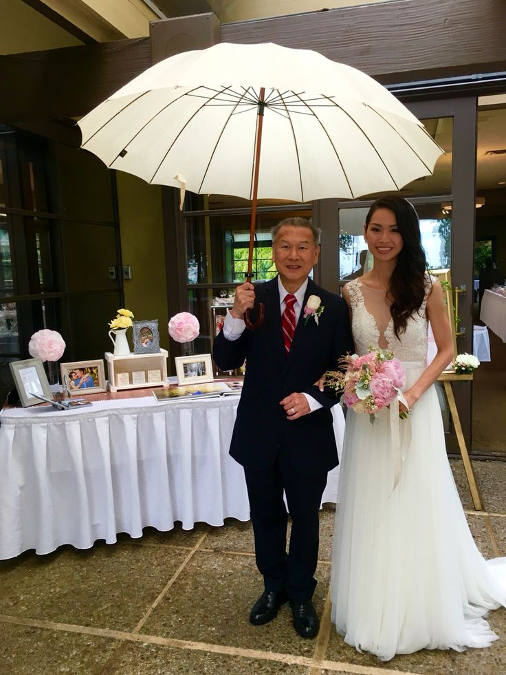 Beautiful ceremony despite the weather Winnie Tong and her father getting ready to walk down the isle June 18, 2016