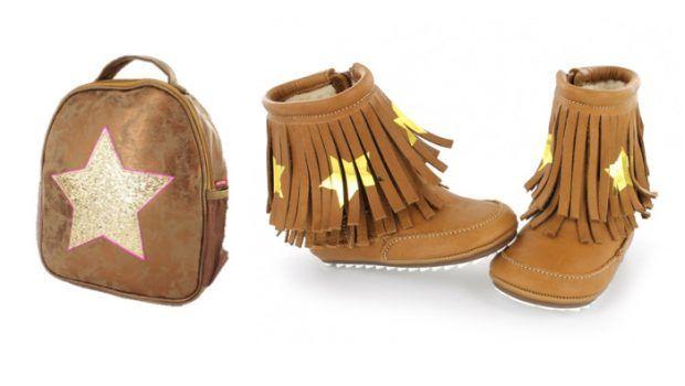 Shoesme loves gouden sterren! De Shoesme rugzak combineert perfect met deze franje laarsjes voor de eerste stapjes!