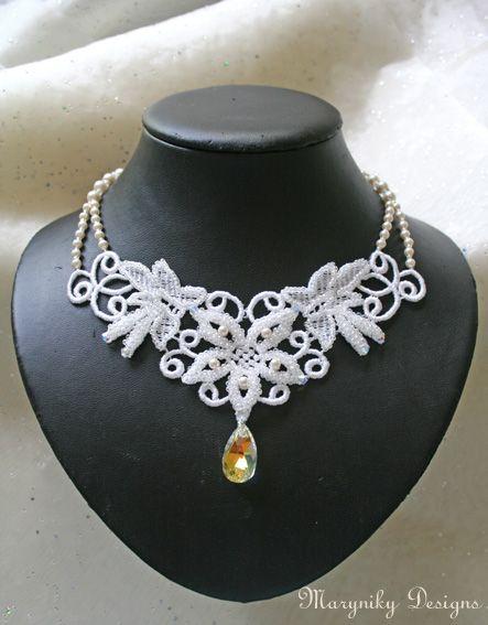 White lace bridal necklace