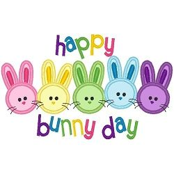 Happy Bunny Day Applique - 3 Sizes! | Easter | Machine Embroidery Designs | SWAKembroidery.com