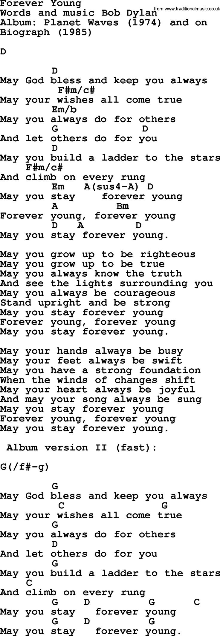 Song lyrics for forever young