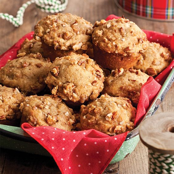 Ripe bananas and crunchy nuts bring moisture and flavor to theseBanana Streusel Muffins.   Find more great seasonal recipes like this in Paula Deen's Holiday Baking 2016.