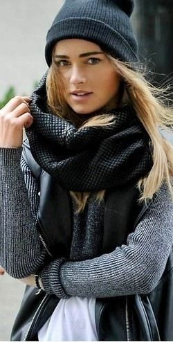 Autumn. Layers. Cozy. Scarf. Black & Grey. Cap. Knit Wear. Blond. Beauty. Fashion. Woman. Style. Clothing. Proper.