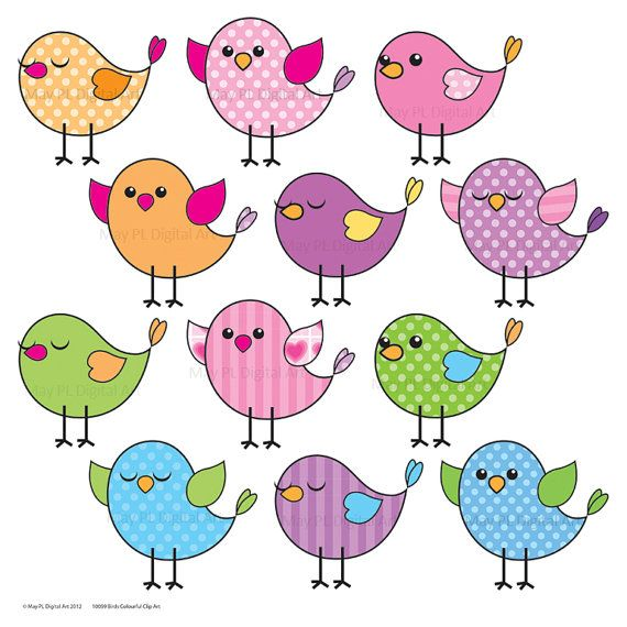 Cute Birds Clipart Clip Art Pink Blue Purple Green Tweet Tweet Downloadable Party Printables DIY Make Your Own Birthday Cards 10059 via Etsy