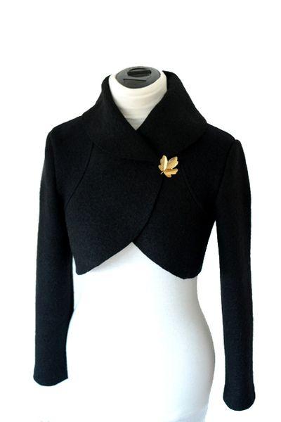 Wolle Walk-Bolerojacke, Schwarz Gr.XS-L von Rosenrot Modedesign  auf DaWanda.com