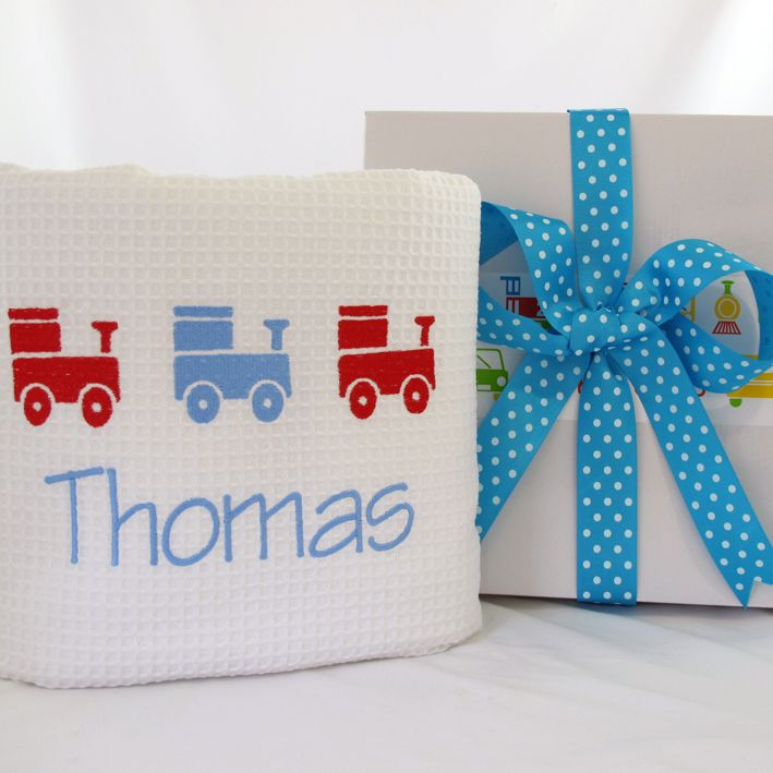 Personalised baby boy train blanket. Personalisedbabyblankets #personalisedbabygifts #trains
