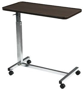 Deluxe Tilt Over Bed Hospital Computer Table Adjustable Height/Wheels #13008