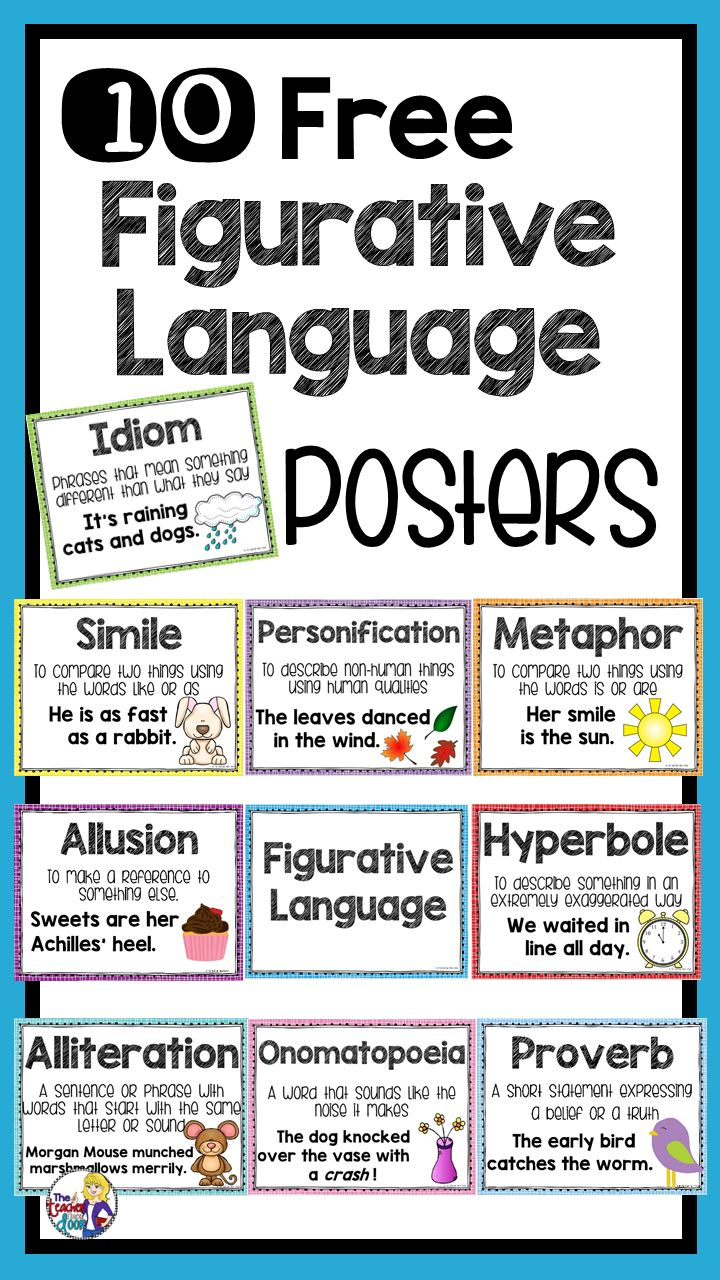 These 10 Figurative Language Posters are a great way for you to introduce different types of figurative language and can also be displayed in the classroom and used as a reference for your students. There is a poster for each type of figurative language including similes, idioms, metaphors, hyperboles, proverbs, allusions, alliterations, personifications, and onomatopoeias, as well as a title poster that says Figurative Language.