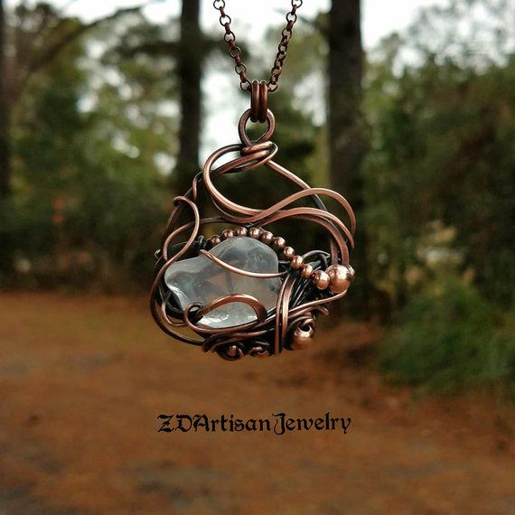 Copper Wire Woven Pendant Unique Jewelry Ethereal Road