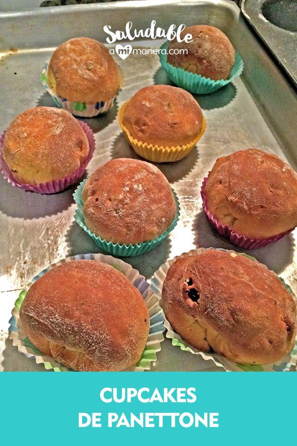 El panettone es un postre italiano elaborado con una masa de pan tipo brioche con aroma a naranja y limón, relleno de frutas deshidratadas y chispas de chocolate.  En esta receta te enseñaré cómo dividir la masa en pequeñas porciones para formar varios mini panettone y los hornearemos en moldes de papel para cupcakes.  Ve los ingredientes aquí. Relleno, Muffins, Breakfast, Mini, Ideas, Food, Paper, Yummy Cakes, Easy Recipes