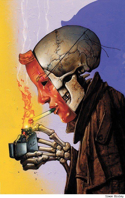 Hellblazer #298 (DC Vertigo), cover by Simon Bisley    I haven't seen the cover to the final issue of Hellblazer yet (issue #300), but I can't imagine a better tombstone for the series than this image, which captures the series' themes of death, magic and trickery and its icons of cigarettes and trenchcoats with definitive wit and style. A great, great image.